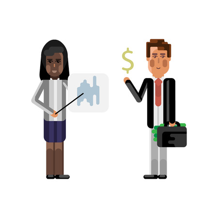 African woman doing business presentation with financial diagram and european investor holding money suitcase. Corporate multicultural business people vector illustration. Vectores