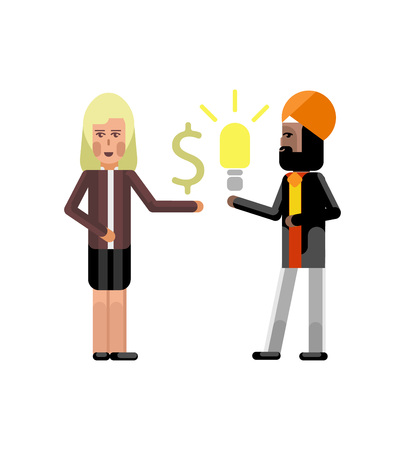 Indian businessman holding idea light bulb and blonde businesswoman with dollar sign in hand. Corporate multicultural business people vector illustration.