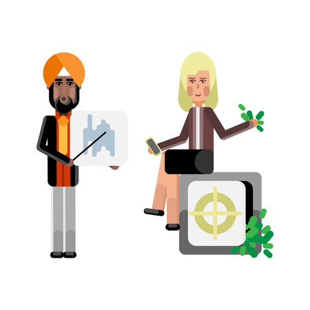Indian businessman showing financial diagram and blonde businesswoman with smartphone sitting on bank safe full of money. Corporate multicultural business people vector illustration.