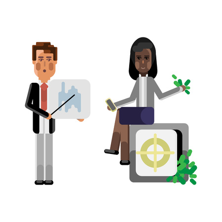 European businessman showing financial diagram and african businesswoman with smartphone sitting on bank safe full of money. Corporate multicultural business people vector illustration. Vectores