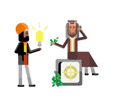 Indian businessman holding idea light bulb and arabic investor with smartphone sitting on bank safe full of money. Corporate multicultural business people isolated vector illustration.