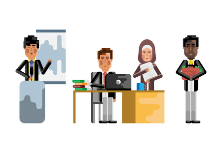 Multiethnic teamwork in office, asian speaker doing presentation, european man and arabic secretary working with documents. Corporate multicultural business people isolated vector illustration.