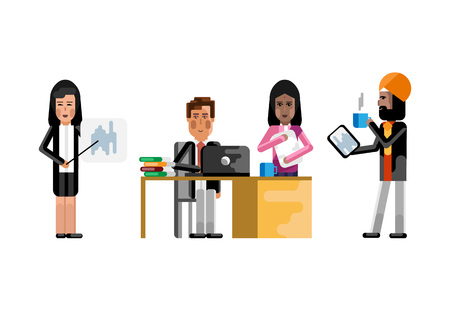 Multiethnic business staff working in office Illustration