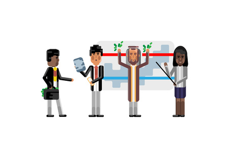 Multi ethnic speakers doing presentation near whiteboard with financial diagram, African investor with money suitcase. Corporate multicultural business people isolated vector illustration. Ilustrace