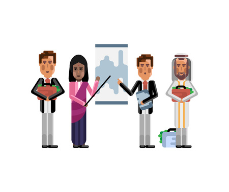 Multi ethnic business team doing presentation before European and Arabic depositors with money suitcases. Corporate multicultural business people isolated vector illustration. Vectores