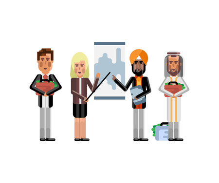 Multi ethnic business team doing presentation before European and Arab depositors. Corporate multicultural business people isolated vector illustration.