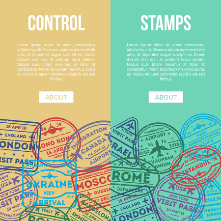 Travel agency flyers with visa stamps on passport illustration.