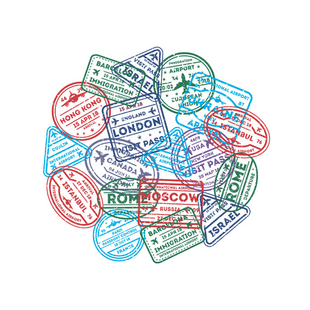 Rubber stamps on passport round composition.