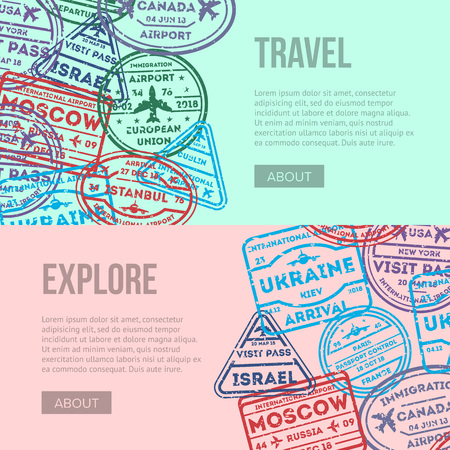 Worldwide air traveling flyers with visa stamps on passport. Barcelona, France, Moscow, Dublin, Hong Kong, Canada, USA, Istanbul, Rome, Ukraine, London immigration ink signs vector illustration.