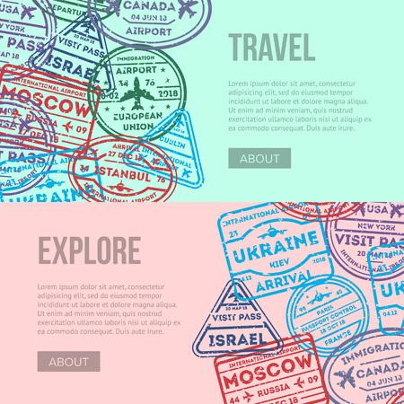 Volantes de viajes aéreos en todo el mundo con sellos de visa en el pasaporte. Barcelona, Francia, Moscú, Dublín, Hong Kong, Canadá, Estados Unidos, Estambul, Roma, Ucrania, Londres signos de tinta de inmigración ilustración vectorial. Ilustración de vector