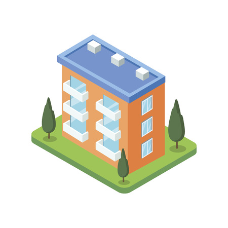 Town building isometric 3D icon