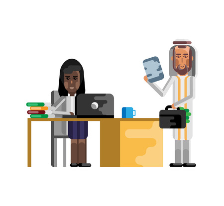 Business meeting arabic businessman with woman Illustration