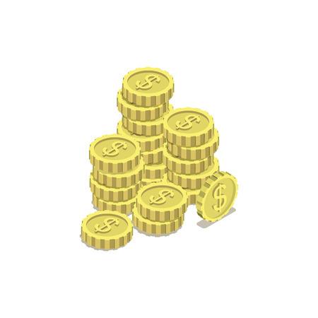 Stacks of gold coins isometric 3d icon Illusztráció