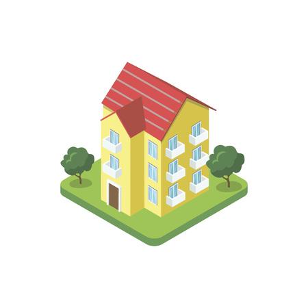 Three floor house isometric 3D icon
