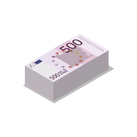Pile of euro banknotes isometric 3d icon