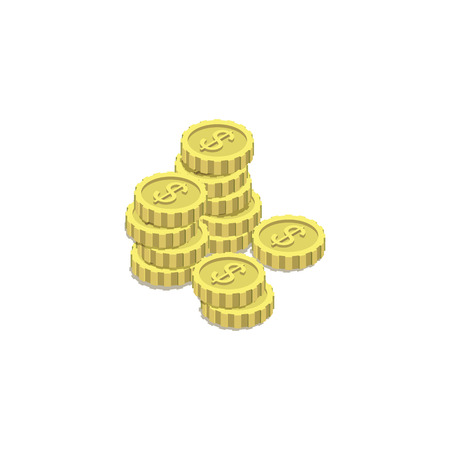Golden coins isometric 3d icon