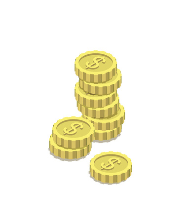 Golden dollar coins isometric 3d icon