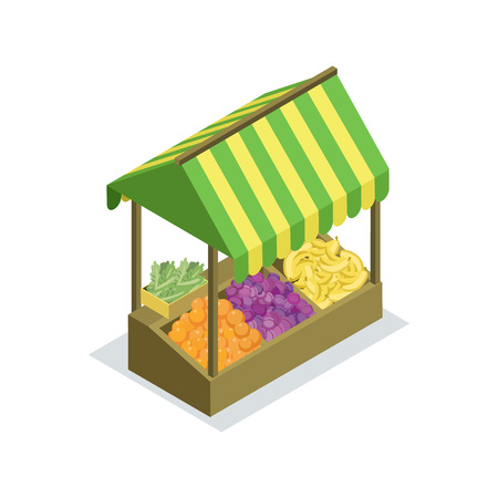 Street trading stand isometric 3D icon