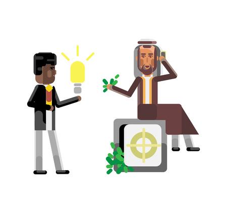African businessman holding idea light bulb