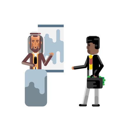 Arabic speaker doing business presentation Stock Illustratie