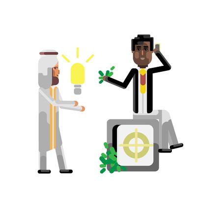 Arabic businessman holding idea light bulb