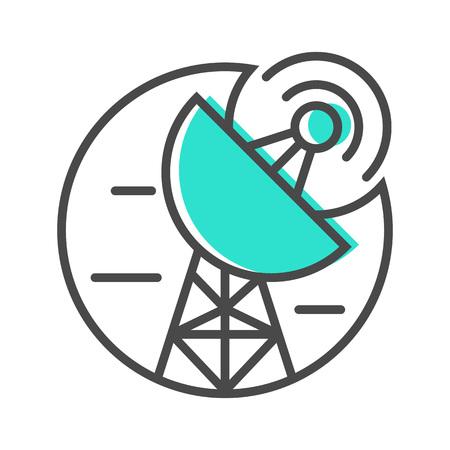 Data stream icon with satellite dish sign Stock Photo
