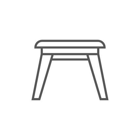 Wooden stool icon in linear style