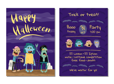 Halloween party invitation with cute zombies
