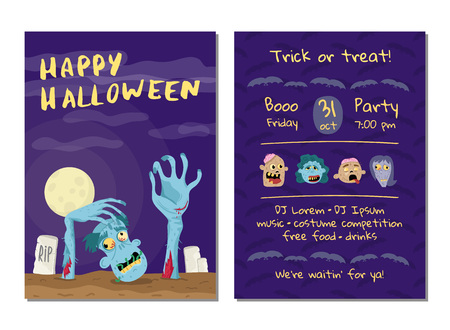 Halloween party invitation with undead man Stock Photo
