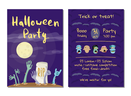 Halloween party invitation with zombies hands