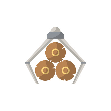 Crane loading wooden logs icon in flat style
