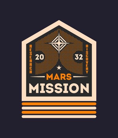 Martian mission vintage isolated label