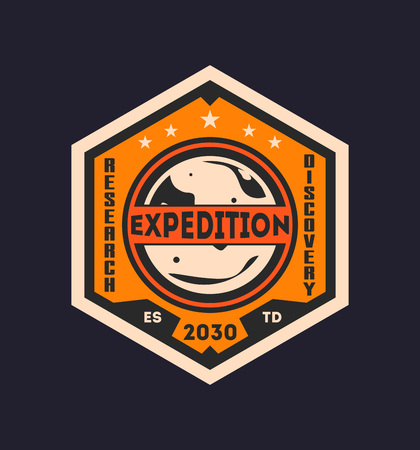 Martian scientific expedition vintage label Stock Photo