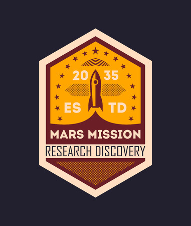 Martian space mission vintage isolated label