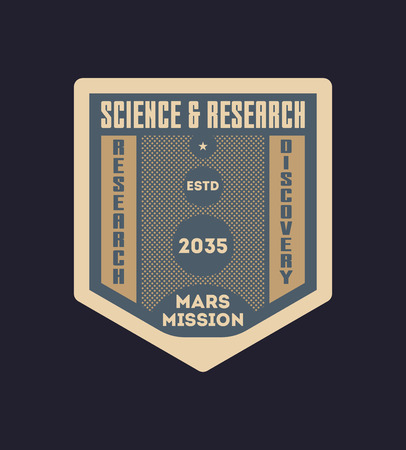 Space research vintage isolated label