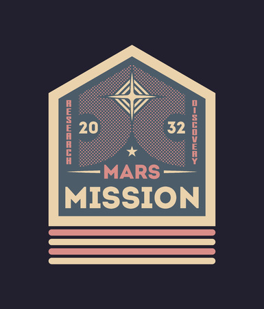 Mars colonization vintage isolated label