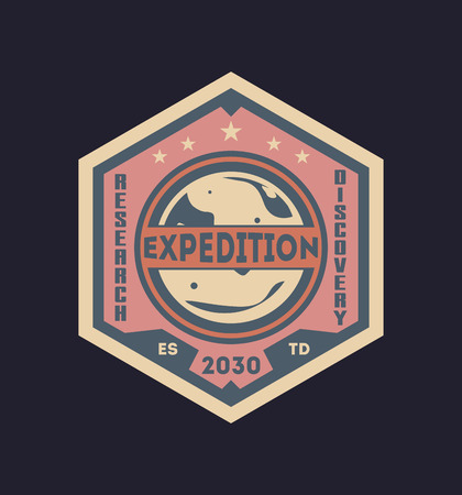 Galaxy expedition vintage isolated label Stock Photo