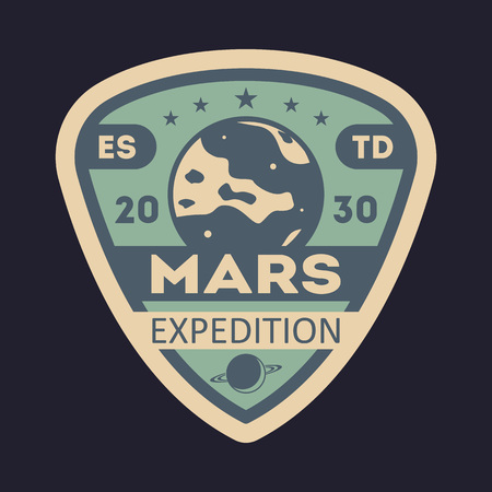 Martian expedition vintage isolated label Stock Photo