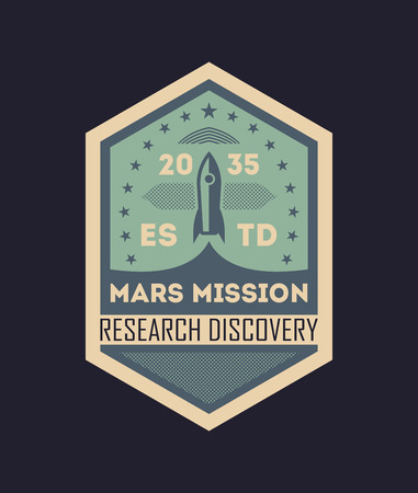 Mars scientific mission vintage isolated label