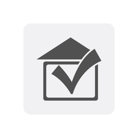 Quality control at home icon with real estate sign Stock Photo