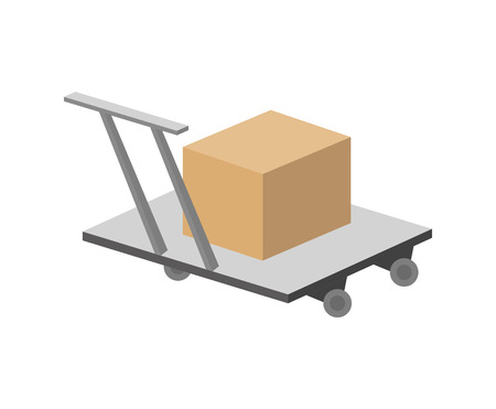 Packing box on hand truck in flat design
