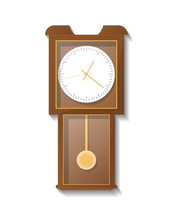 Vintage wooden pendulum clock icon Stock Photo