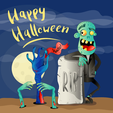 Happy Halloween poster with zombie Banque d'images