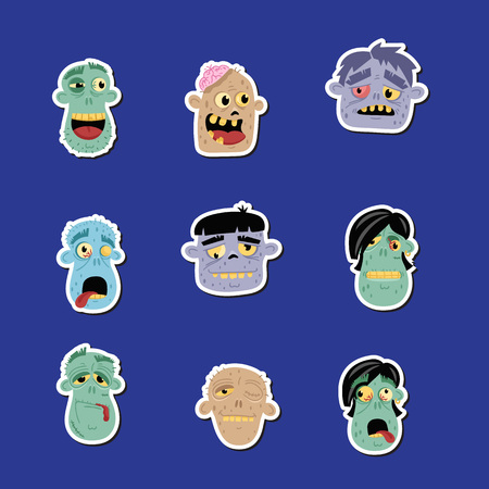 Funny zombie avatar icon set Banque d'images