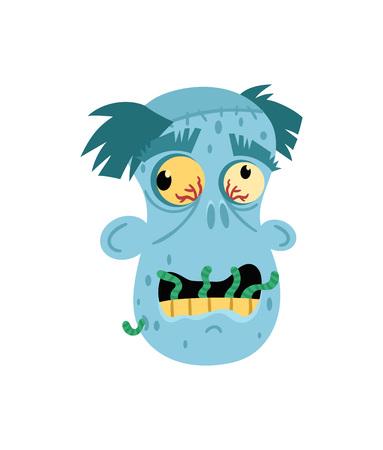 Angry zombie man head avatar in cartoon style