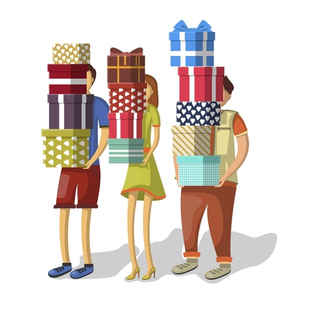 Vector men and woman carrying stacks of holiday presents standing isolated on white background