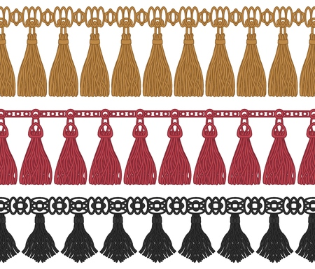 Seamless collection of various colorful fringe in lines isolated on white background