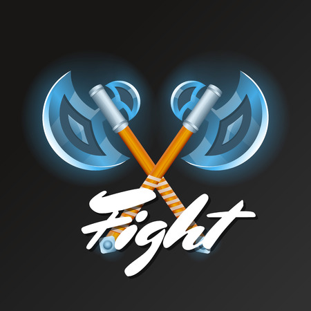 Fight element with crossed medieval hatchets