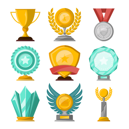 Golden trophy cups and awards set
