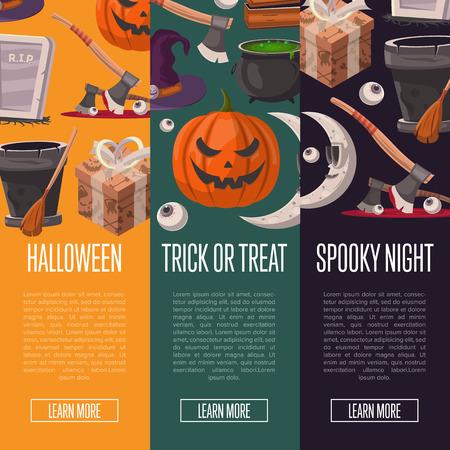 Halloween party cartoon flyers set